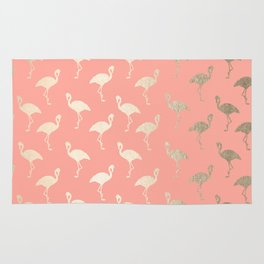 Gold Flamingo Pattern Coral Pink Rug