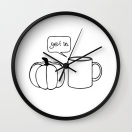 Pumpkin Spice Comic - Get In Wall Clock
