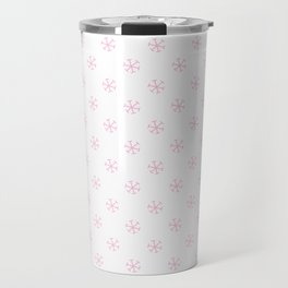 Cotton Candy Pink on White Snowflakes Travel Mug