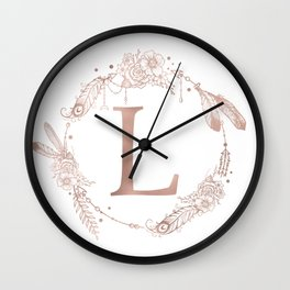 Letter L Rose Gold Pink Initial Monogram Wall Clock