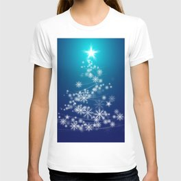 Whimsical Glowing Christmas Tree with Snowflakes in Blue Bokeh T-shirt