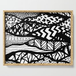 Black and White Tribal Waves Line Patterns Design Serving Tray
