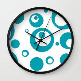 Circles Dots Bubbles :: Turquoise Inverse Wall Clock