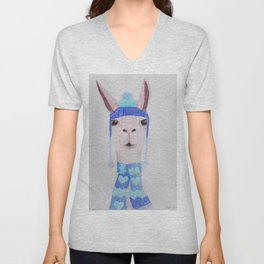 Llama in woolly hat and scarf Unisex V-Neck