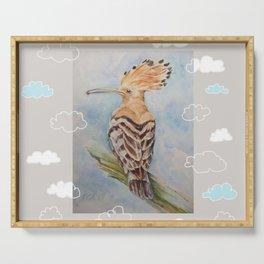Hoopoe Bird in the sky Serving Tray