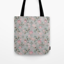 Retro . Pink flowers on grey background . Tote Bag