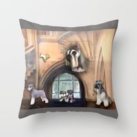 schnauzer Throw Pillows featuring Schnauzer by Michelle Behar