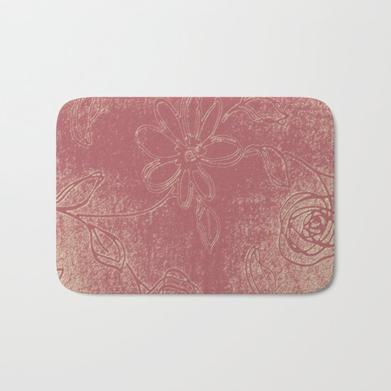 Light pink abstract design vintage velvet look with flowers Bath Mat