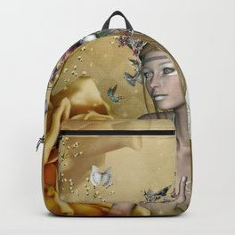 Beautiful fairy with butterflies and flowers Backpack