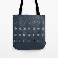 moon phases Tote Bags featuring Moon Phases by Kiss the Sky