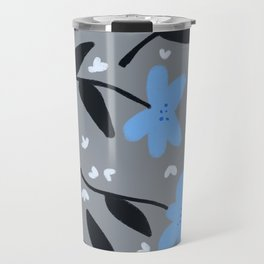 Floral Pattern in Light Blue Travel Mug