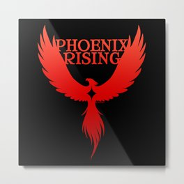 PHOENIX RISING red on black with star center Metal Print