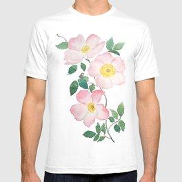 pink rosa rubiginosa watercolor T-shirt