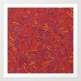 Abstract strokes red Art Print