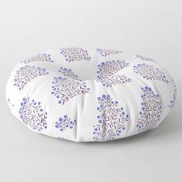 Indian Mughal Flower Pattern - Blue Floor Pillow