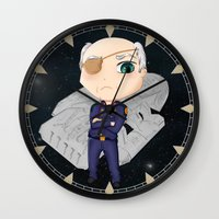 battlestar galactica Wall Clocks featuring Colonel Tigh 2 | Battlestar Galactica by The Minecrafteers