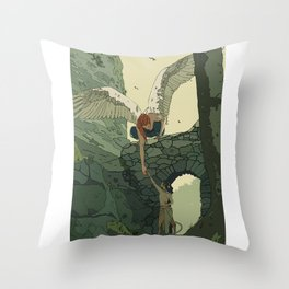 The Angel and Fawn Throw Pillow