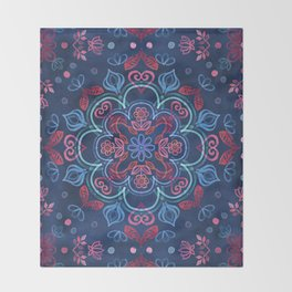 Cherry Red & Navy Blue Watercolor Floral Pattern Throw Blanket