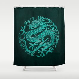 Traditional Teal Blue Chinese Dragon Circle Shower Curtain