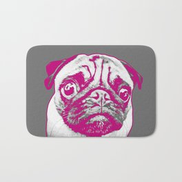 Sweet pug in pink and gray. Pop art style portrait. Bath Mat