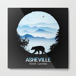 Asheville Blue Ridge Mtns - AVL 1 Black Metal Print