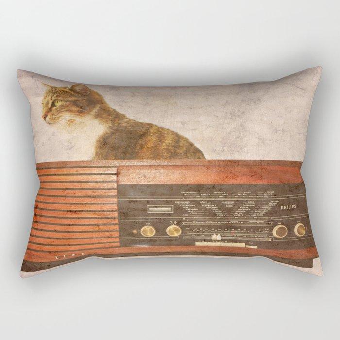The Cat and the Radio Rectangular Pillow