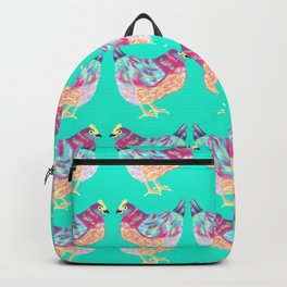 Colorful Chickens With Aqua Background Backpack