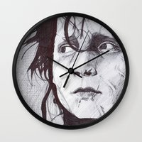 edward scissorhands Wall Clocks featuring Edward Scissorhands   by DeMoose_Art