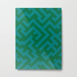 Teal Green and Cadmium Green Diagonal Labyrinth Metal Print