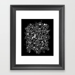 For Good For Evil - White on Black Framed Art Print