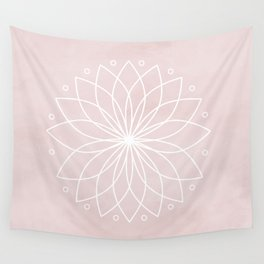 Mandala on Pink Watercolor Background Wall Tapestry