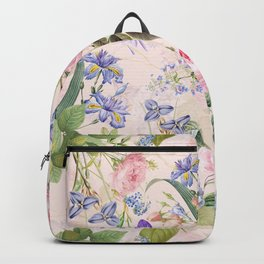 Vintage & Shabby Chic - Pink Redouté Roses Bouquets Pattern Backpack
