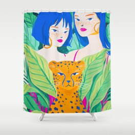 Girls and Panther in Tropical Jungle Shower Curtain