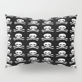 Skull and XBones in Black and White Pillow Sham