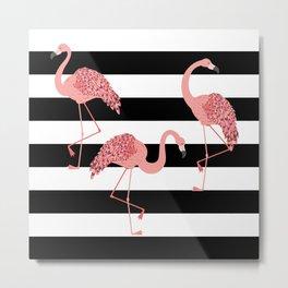 Cute cartoon pink flamingo over black stripes Metal Print