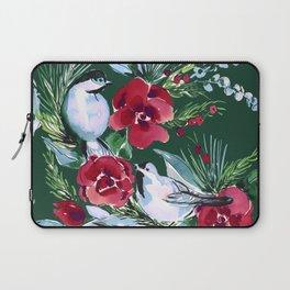 Winter Birds Dark Green Laptop Sleeve