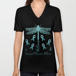 Cervical Cancer Warrior Women T-shirt Unisex V-Neck
