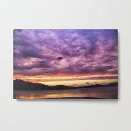 Mountain Lake Sunset Metal Print