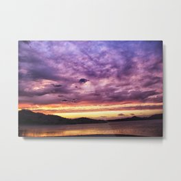 Mountain Lake Sunset Metal Print