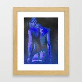 Beautiful Young Woman Wearing Plaits and Panties (Blue) Framed Art Print