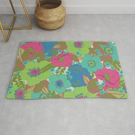 Green, Turquoise, Blue and Magenta Retro Floral Pattern Rug