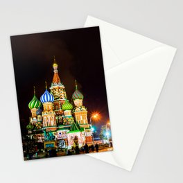 Saint Basil's Cathedral On Moscow Red Square At Winter Night Stationery Cards
