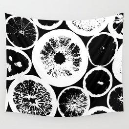 Citrus Black & White Wall Tapestry