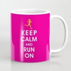 Keep Calm and Run On (female runner) Mug