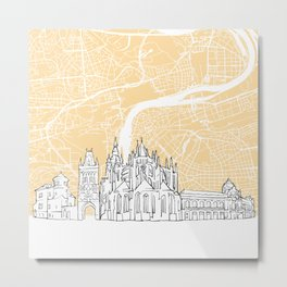 Prague Czech Republic Skyline Map Metal Print