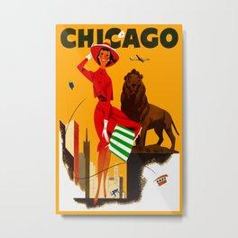 Vintage Chicago Illinois Travel Metal Print