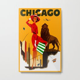 Vintage Chicago Illinois Travel Metal Print