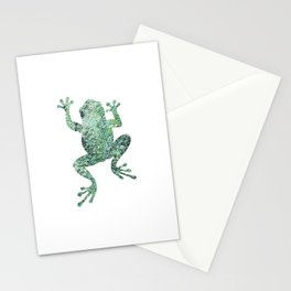 green lichen crawling frog silhouette Stationery Cards