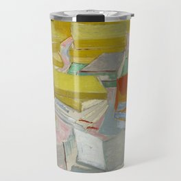 Piles of French novels by Vincent van Gogh, 1887 Travel Mug