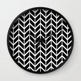 Black & White Chevron Arrowheads Wall Clock